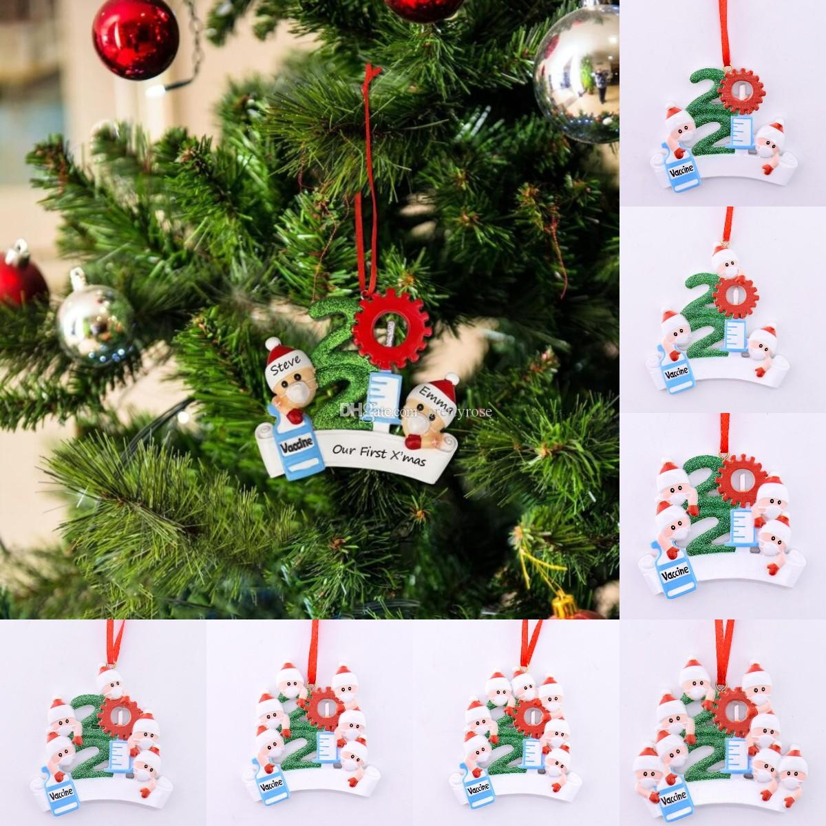 Hot Nuevo 2021 Decoración navideña Adornos de cuarentena Familia de 1-9 cabezas DIY Árbol Accesorios colgantes con resina de cuerda roja