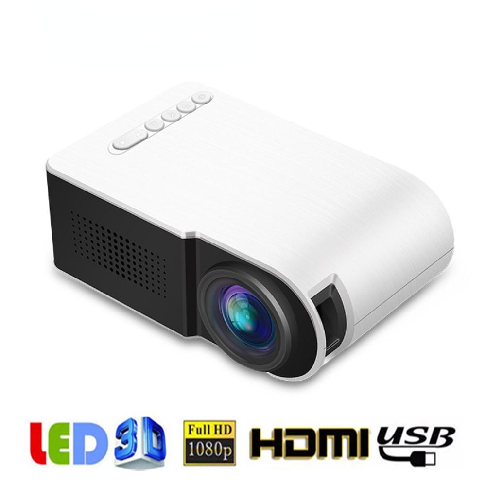 YG210 Mini Portable Projector LED 600 Lumen Supports 1080p HD Playback 3.5mm Audio HDMI USB Home Media Player