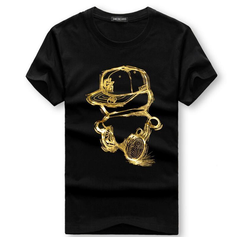 Erkek T-Shirt Erkekler Yaz Kısa Kollu Rahat Pamuk Tişörtleri Altın Kişi Karikatür Baskı T Gömlek Tee 4XL 5XL