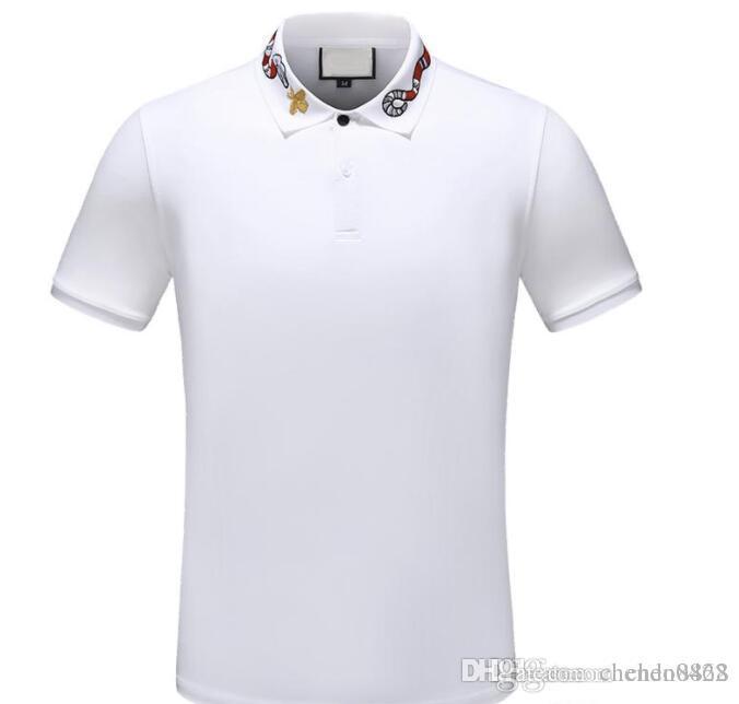 2019 Designer Stripe Polo Camiseta Camisas Cobra Polos Bee Floral Bordado Mens High Street Cavalo Polo T-shirt
