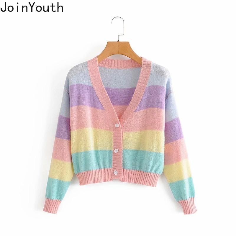 CARDIGAN CARDIGAN AUTOMNE HIVER Vêtements de Pull coréen Femmes Col V-Cou Patchwork Sweet Suter Manteau 7B365 210506