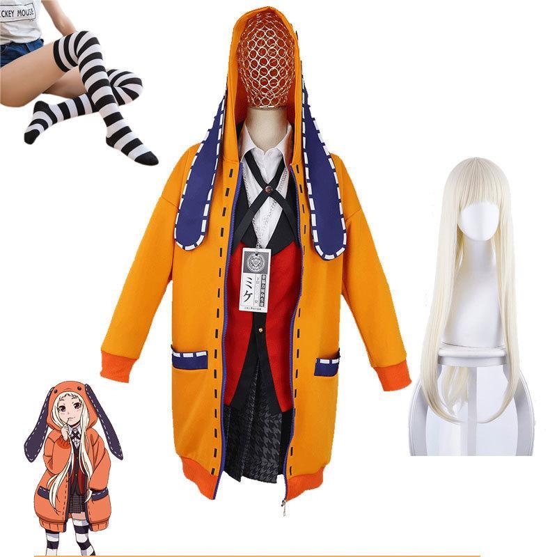Fille Uniforme Anime JK Kakegurui Set Sweat à capuche Runa Yomotsuki Cosplay Costume Wig Kirari Jabami Yumeko Hall