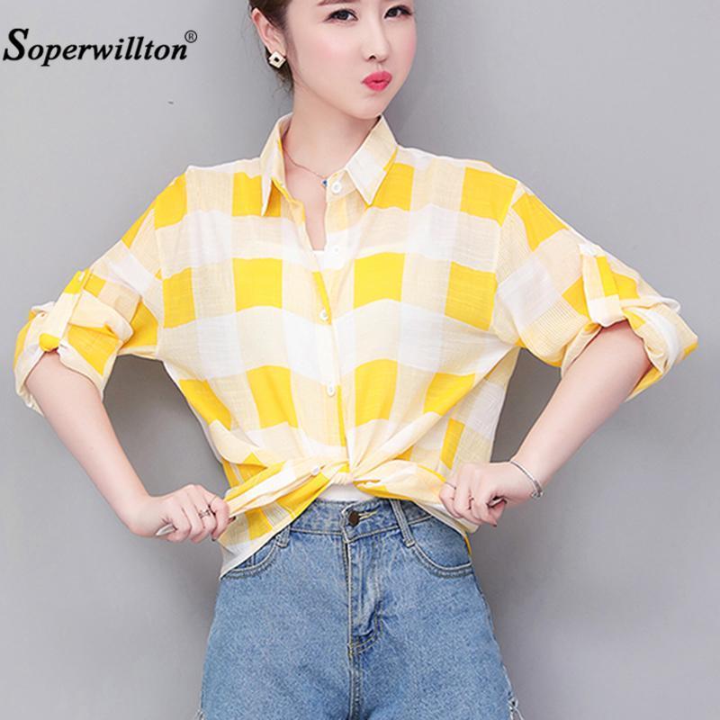 Camicette da donna estate camicette kimono casual camicia a plaid camicette arco Blusa allentato plus size 3xl autunno abbigliamento da donna