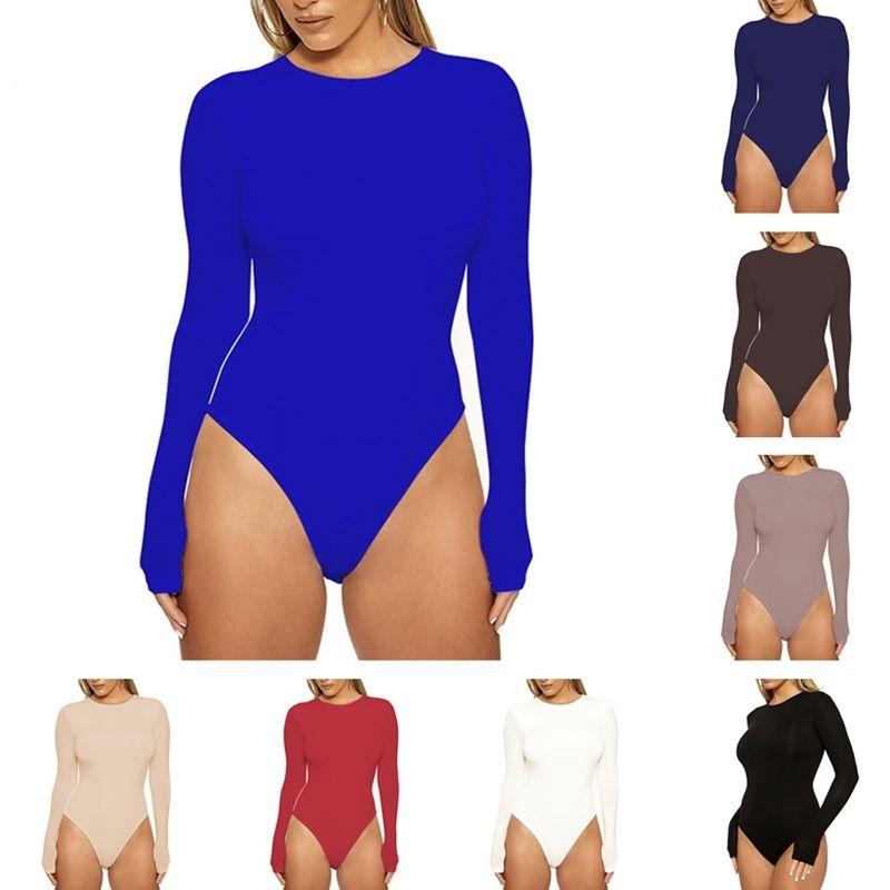2021 봄 여성 캐주얼베이스 코트 긴 소매 Bodysuit 새로운 캐주얼 8 색 플러스 사이즈 의류 패션 라운드 목 마른 솔리드 컬러 rompers