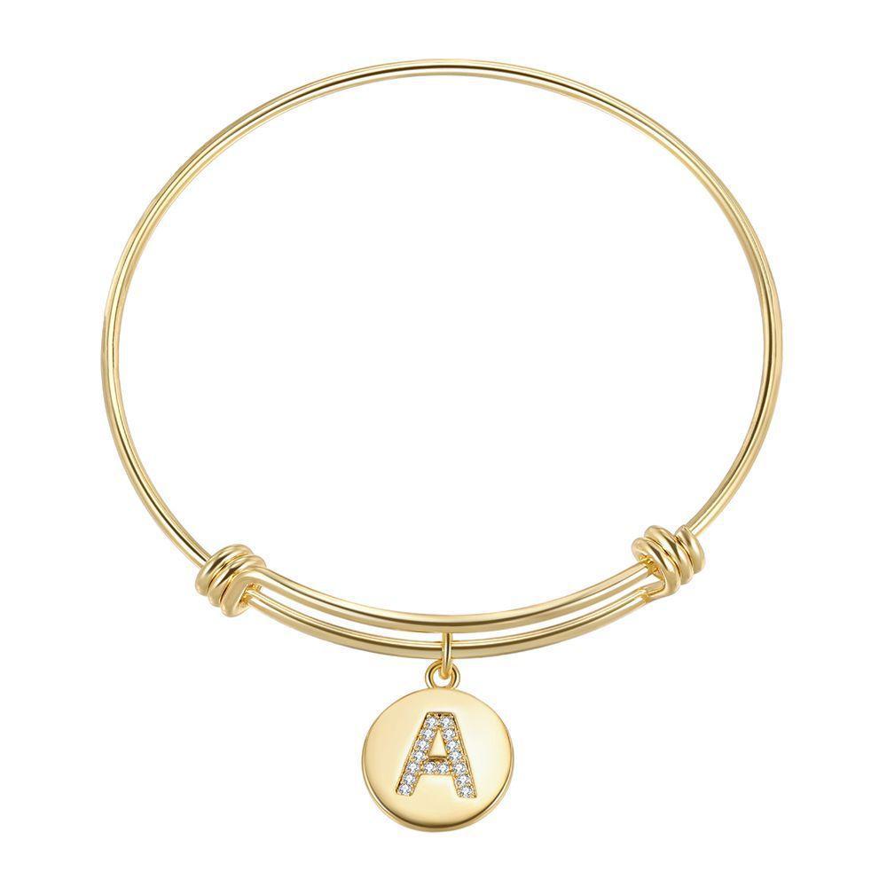 Bangles de mulher ajustável 26 letras pulseira pulseira real banhado a ouro com zircon mulheres braceletes presente para amigos