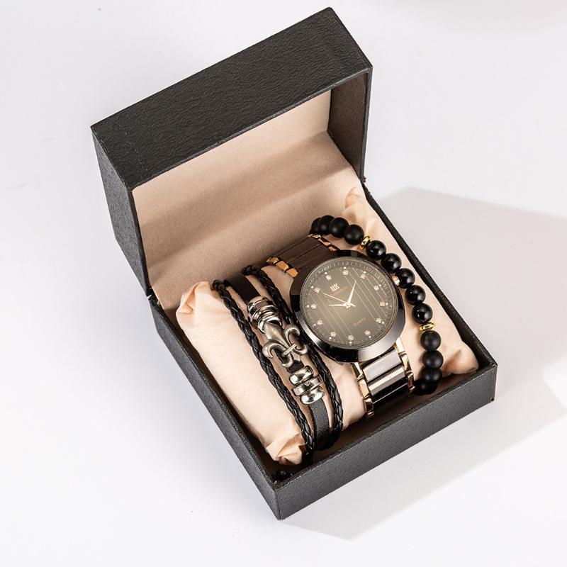 Relógio de quartzo relojes para mujer marca de lujo 3 pcs / set conjunto de presente lindamente empacotado conjunto de pulseiras + banda de aço relógios de pulso