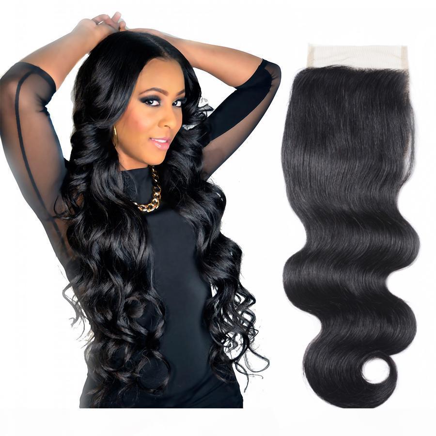 Cierre de onda del cuerpo del cabello humano Cierre de encaje 4x4 Cierre de encaje Indian Virgin Weave Weages Natural Color sin procesar densidad total de buena calidad