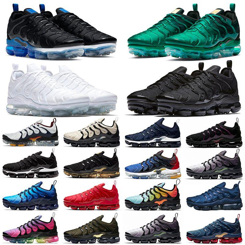 Nike air vapormax tn plus TN 플러스 남성 여성 신발 배 블랙 화이트 DMP 일몰 하이퍼 레드 블루 볼트 패션 남성 트레이너 스포츠 스니커즈 크기 36-47를 실행