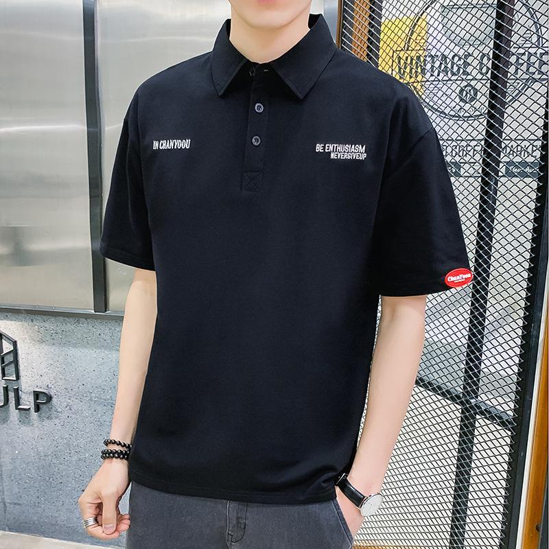 FactoryR6W9 Свободные мужские Летние Отворота Футболка Короткая Студенческая Мода Среднего Рубашки Рубашки поло