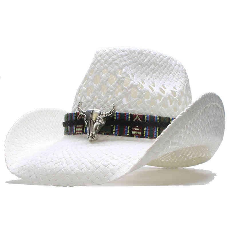 Big Ox Head Belt Hollowed Out Women Men Unisex's Retro Raffia Straw Wide Brim Sun Beach Cowboy Cowgirl Western Hat (58cm) J0511
