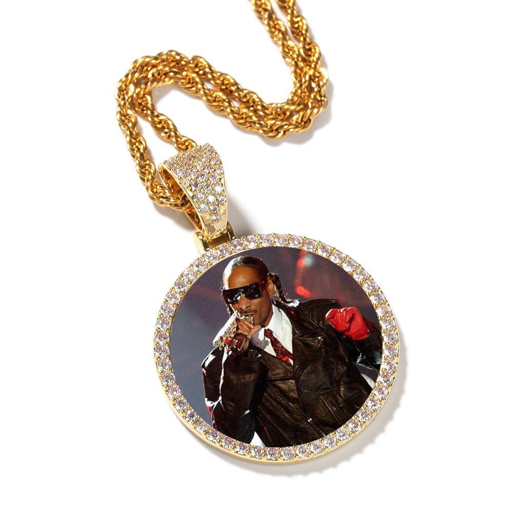 Médaillons Pendentif Collier Colle Cercle Cercle Photo avec Ailes Or / Argent Couleur Cubic Zircon Cuisine En Acier Inoxydable Chaîne Hommes Femmes Hip Hop Bijoux
