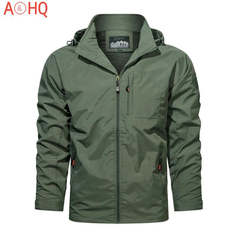 Jaquetas masculinas primavera jaqueta jaqueta ao ar livre windbreaker casaco com capuz trekking caminhadas casuais Lightweight militar fina 2021