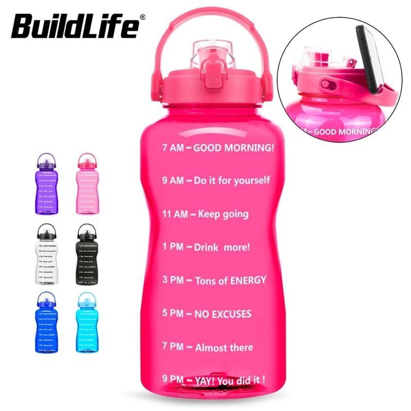 Buildlife 2L 3.8L Tritan Galão Garrafa de Água Flip-Flop Motivacional BPA Ginásio Ginásio Ao Ar Livre Ginásio Móvel Garrafas de Excursão 210409
