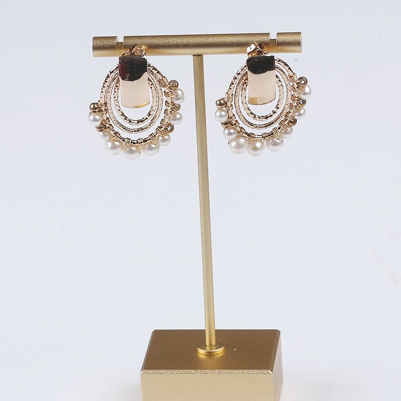 Hoop Earrings Natural White Freshwater Pearls Alloy Gold Chain Crystal Beads Women and Men Jewellery for Party & Wedding