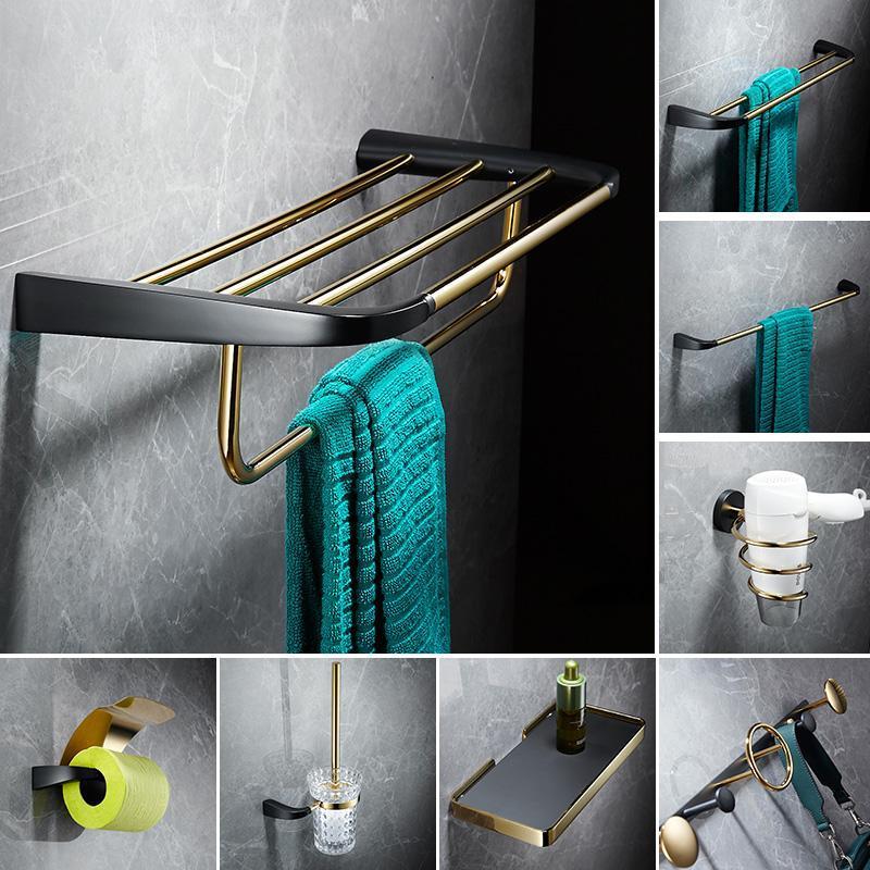 Nordic Bathroom Brass Tovagliolo Asciugamano Light Luxury Black and Gold Bath Bath Set Set Bar Anello Banco da bagno Portabiancheria Holder Ago Hook Accessory