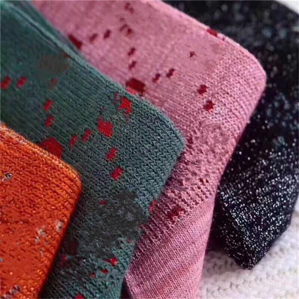 2021 Designer Mens Womens Meias Cinco Par Luxe Esportes Inverno Malha Carta Impresso Tiger Wolf Head Sock Bordado Homem Algodão com Caixa AAA +++