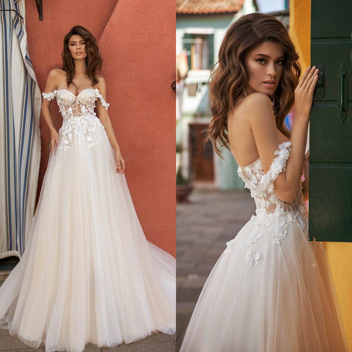 Une ligne robe de mariée boho élégante robe de mariée de mariée de la dentelle fleurs de la dentelle robe de mariée Abito da Sposa