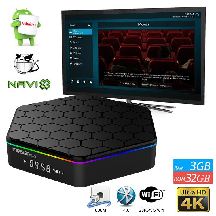 T95Z PLUS Android 7.1 CAJA DE TV AMLOGIC S912 2GB / 3GB RAM 16GB / 32GB Dual WiFi 2.4G + 5G Bluetooth 4.0 pk x9 Aire