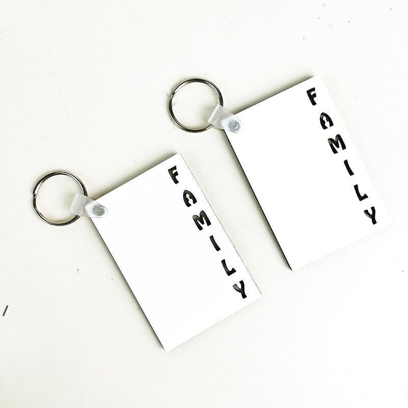 Aile Süblimasyon Boş Anahtarlık Kolye Çift Taraflı Isı Transferi Ahşap Anahtarlıklar MDF Bagaj Dekorasyon Anahtarlık DIY Hediye DWF8372