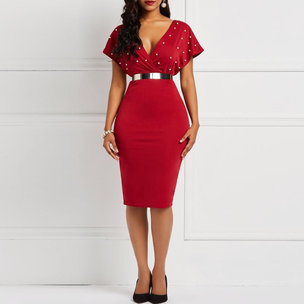 Clocolor Yaz Elbise Seksi V Boyun Tunik Yüksek Bel Boncuk Kısa Kollu Bayanlar Kırmızı Beyaz Bodycon Artı Boyutu Parti Kulübü Midi Elbise