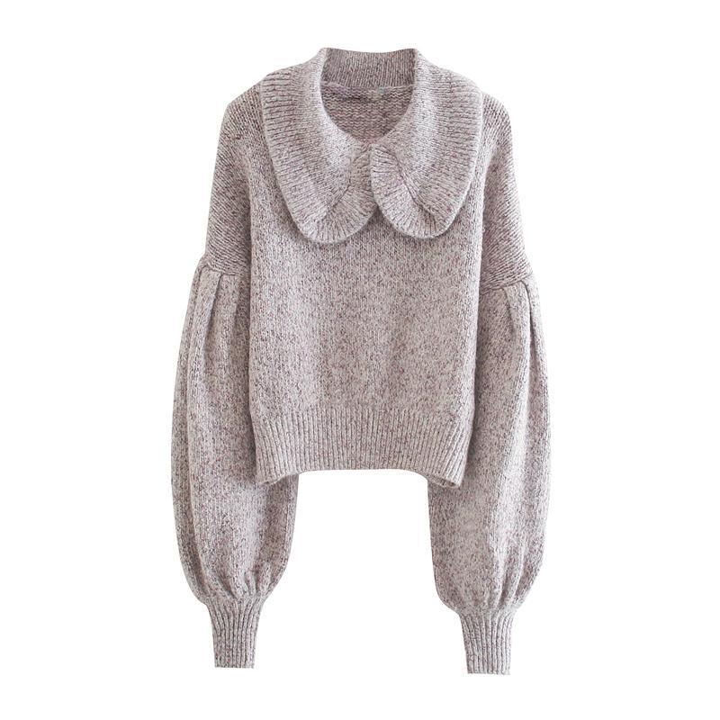 Herbst Strickwaren Top für Frauen mit Babykragen Mode Pullover Lantern Sleeve Personalisierte schlanke Kleidung Frauenpullover