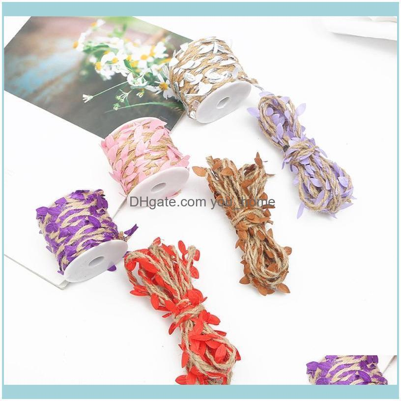 Festive Party Supplies Home Gardensimulation Green Leaves Weaving Rope Diy Wedding Birthday Decoration Rattan Gift Bouquet Packaging Decorat