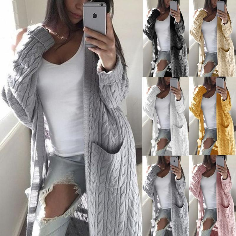Autumn And Winter 2021 Express T-shirt Euro American Long Double Pocket Full Body Twist Sweater Cardigan Women's Down & Parkas