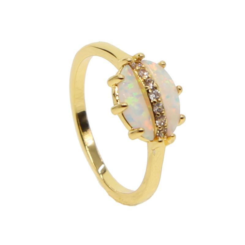 Wedding Rings TOP QUALITY Gem Opal Ring Elegant Women Ladies Gift High Big Stone Fashion Classic Gold Filled Jewelry