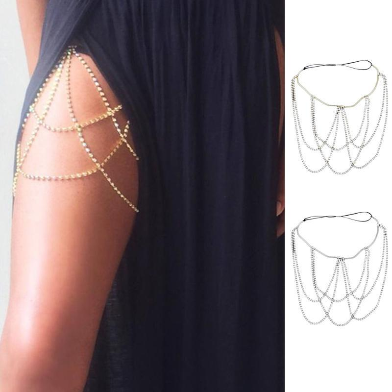Cinturones de muslo Cadena Mujeres Sexy Rhinestone Multi Capa Pierna Metal Elástico Joyería