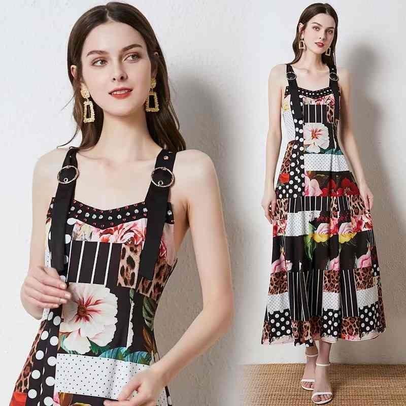 Banulin Mode Runway Sommer Urlaub Kleid Frauen Einstellbare Spaghetti Strap Backless Dot Leopard Vintage Print Maxi 210603