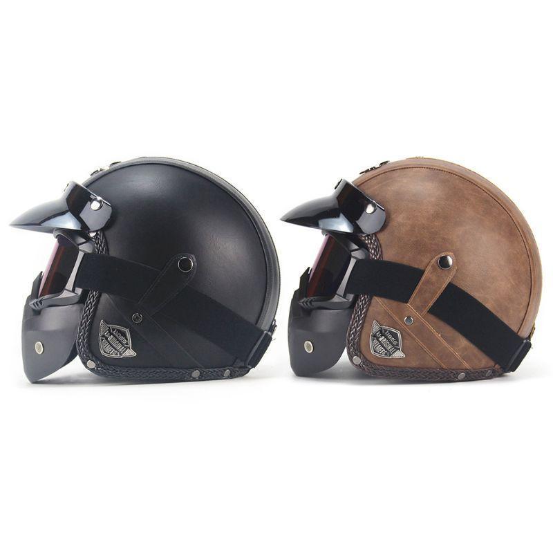 Casques de moto 2021 PU Cuir 3/4 Casque de vélo Vintage Vintage avec masque à lunettes