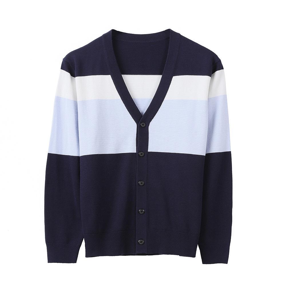 2021 Primavera de manga larga Sweater Sweeter Coat S-cuello de punto Cardigan Cardigan Desgaste de los hombres Luz juvenil Color Color Contrast