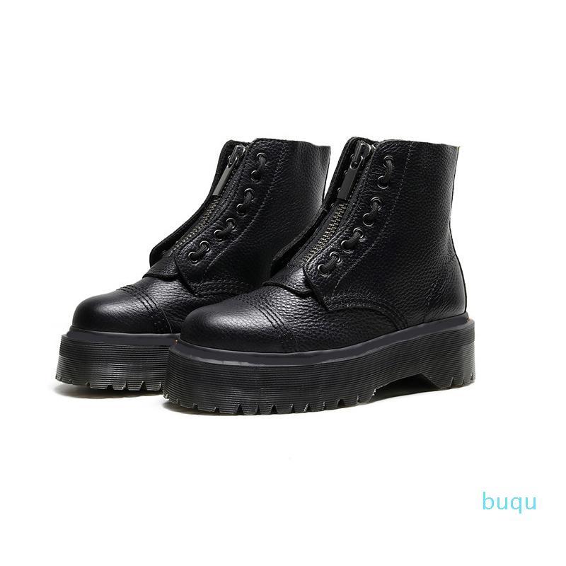 Tasarımcı-Kadın Platform Bottes 8 Delik Ön Fermuar Yumuşak Deri Tasarımcı Kısa Ayak Bileği Patik Siyah Çizmeler