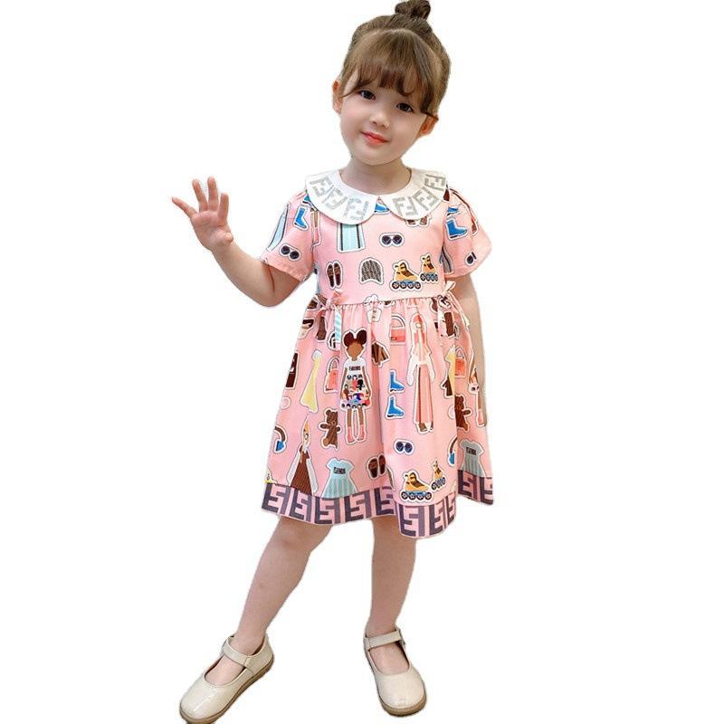 Girls robes de luxe revers de coton imprimé volant princesse princesse mariage robe de soirée vêtements enfants vêtements enfants boutiques vêtements