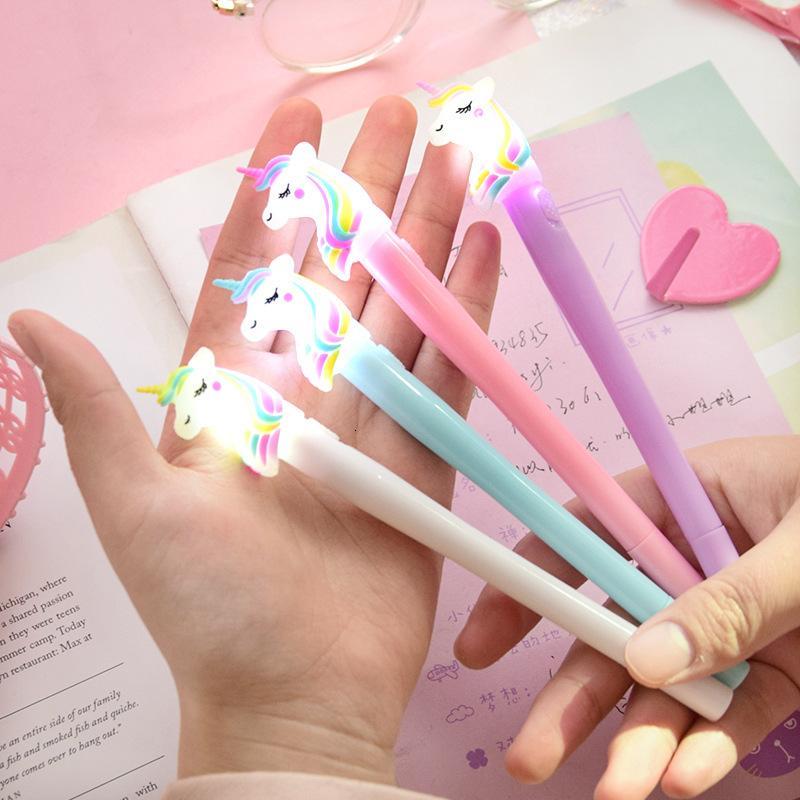 Novel New Designer 0.5mm notte luce arcobaleno unicorno gel penna creativo coreano di lusso individuale forniture di scrittura di cancelleria