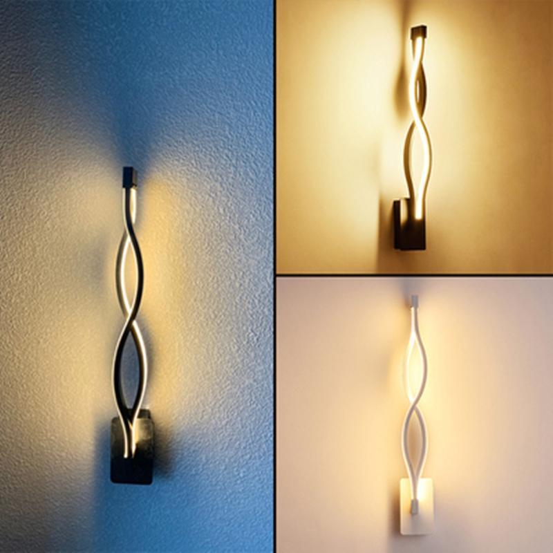 미니멀리스트 벽 조명 16W AC95V-260V 아크릴 블랙 화이트 현대 LED Sconce 램프 거실 침실 침실 침실 침실 장식