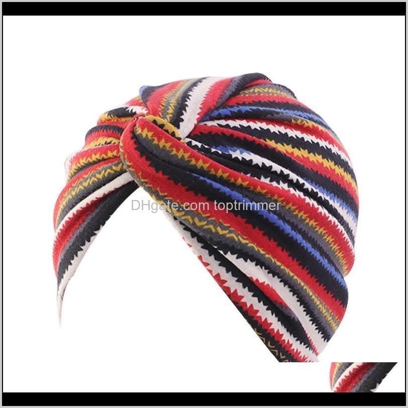 Aessories Araçları Saç Ürünleri Bırak Teslimat 2021 Bohemian Stil Büküm Türban Kadın Moda Headwrap Kemo Kap Qaedb