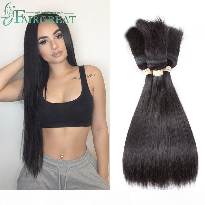Fairgreat trança em pacotes não processados brasileiro cabelo virgem liso cabelo 3 pacotes sem cola sem fio trança em extensões de cabelo humano virgem