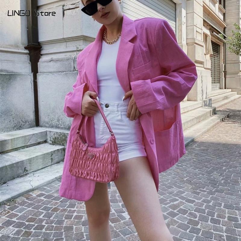 Casual Kadın Pembe Boy Pamuk Ceketler 2021 Bahar Moda Bayanlar Yumuşak Gevşek Dış Giyim Kadın Tatlı Serin Streetwear Coats Kadınlar