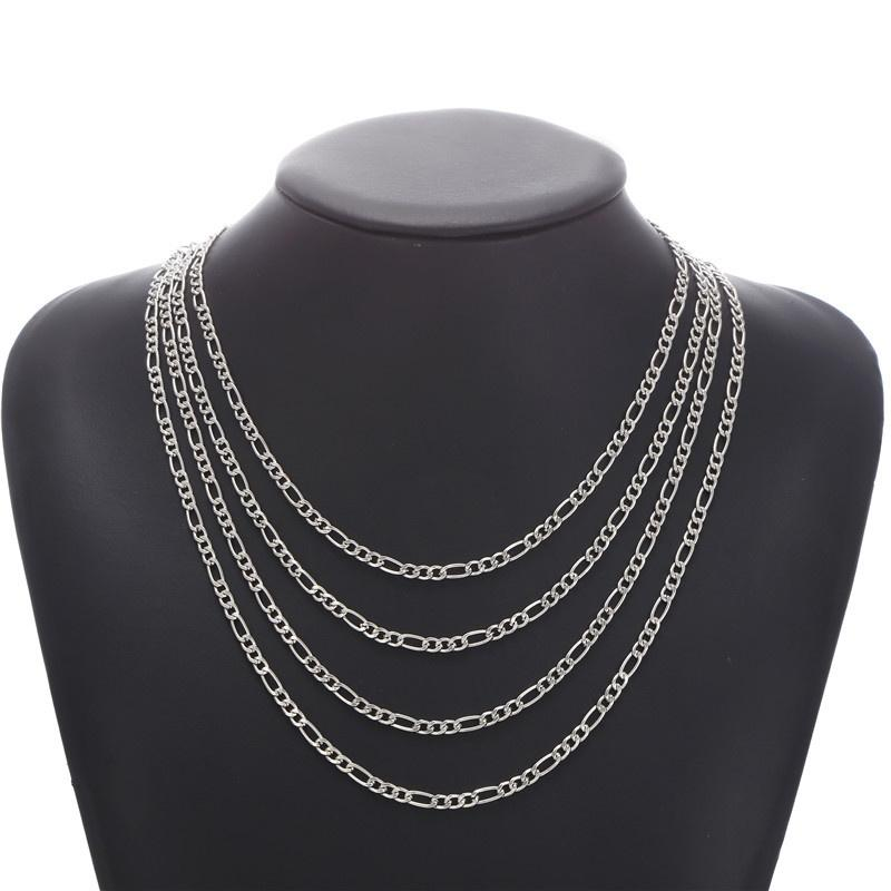 Classic Men Necklace Stainless Steel Cuban Chain Necklaces For Women Punk Jewelry size 55/60/65/70cm