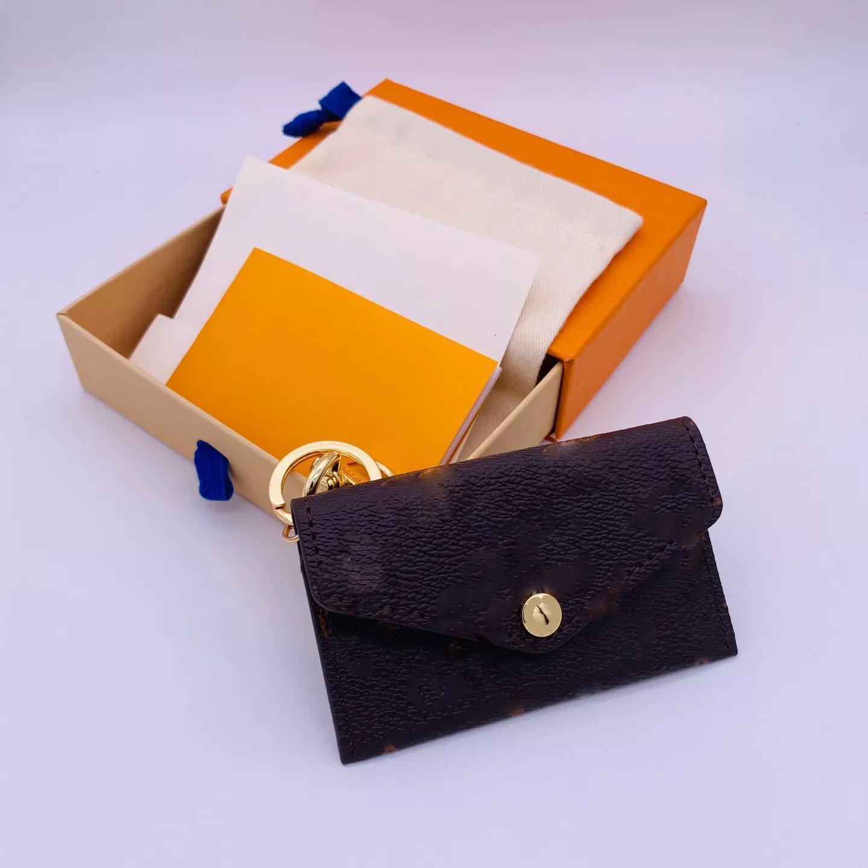 Moda Tasarımcısı Mektup Cüzdan Anahtarlık Anahtarlık Moda Çanta Kolye Araba Zincir Charm Kahverengi Çiçek Mini Çanta Biblo Hediyeler Aksesuarları