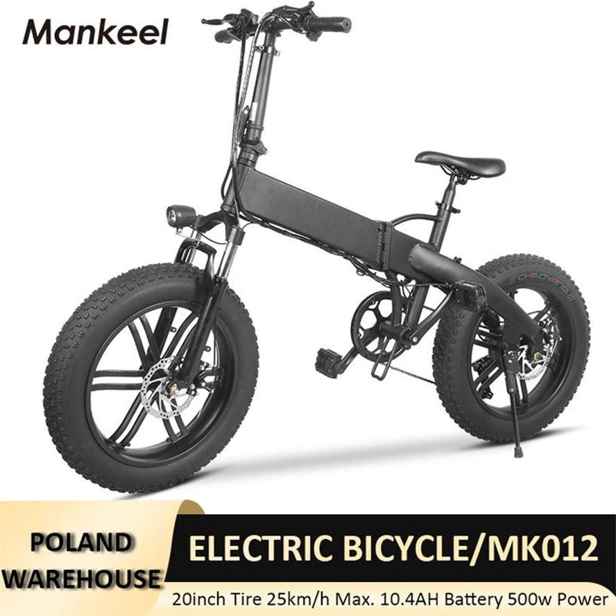 Mankeel MK012 smart scooter 20inch CE Certification Foldable Electric Bicycle 500W Power LED light E-bike 10AH 36V Sport Mountain Bikes