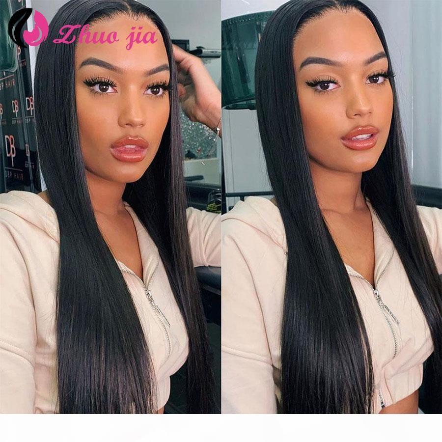 Zhuo JIA Peluca de cabello humano recta Brasileño Pelucas de pelo brasileñas Preparado 13x4 Peluca delantera de encaje Remy Pelucas para mujer