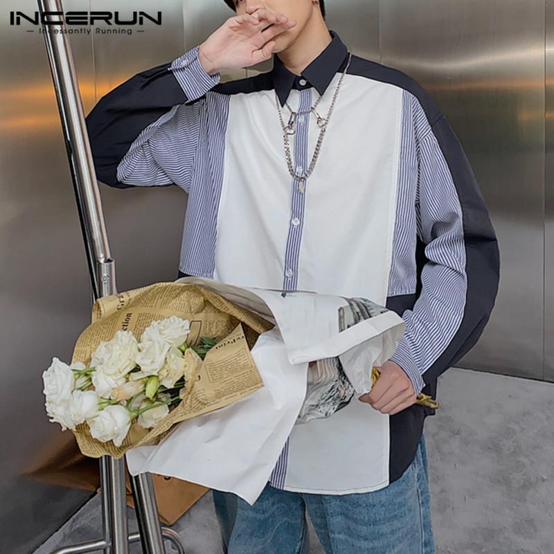 패션 남자 브랜드 셔츠 Streetwear 옷깃 긴 소매 성격 스트라이프 패치 워크 캐주얼 셔츠 블라우스 2021 Camisas 남자