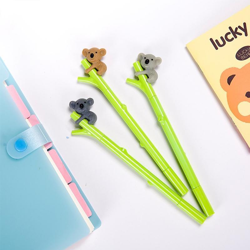 Ballpoint Pens 1pcs 0.5mm Cute Cartoon Fun Koala Black Gel Ink Roller Ball Point Pen Gifts