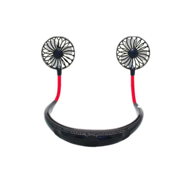 Party Favor Hand Freier Fan Sport Tragbare USB Wiederaufladbare Dual Mini Air Cooler Sommerhals Hängen NHD6114