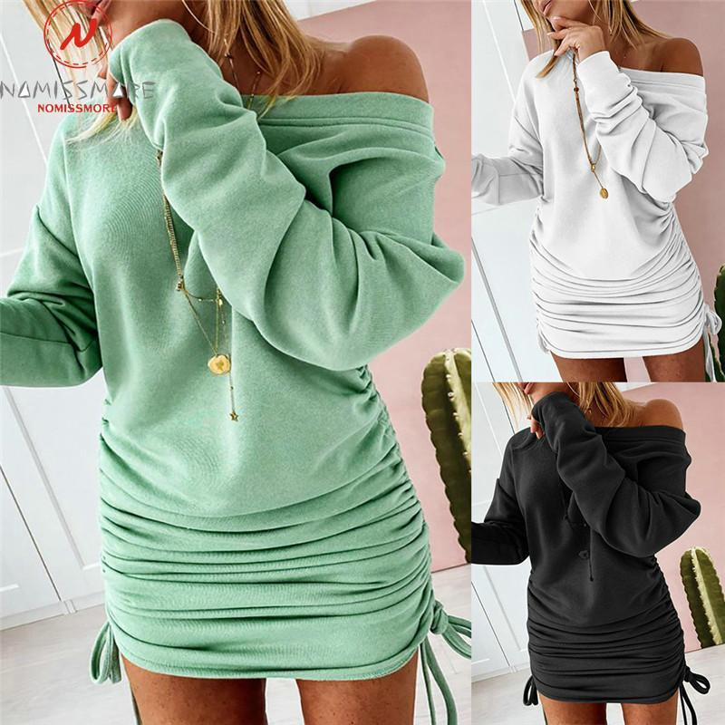 Sexy Women Pencil Dress Shrinkage Drawstring Design O-Neck Long Sleeve Mid Waist Solid Color Slim Pullovers Mini Casual Dresses