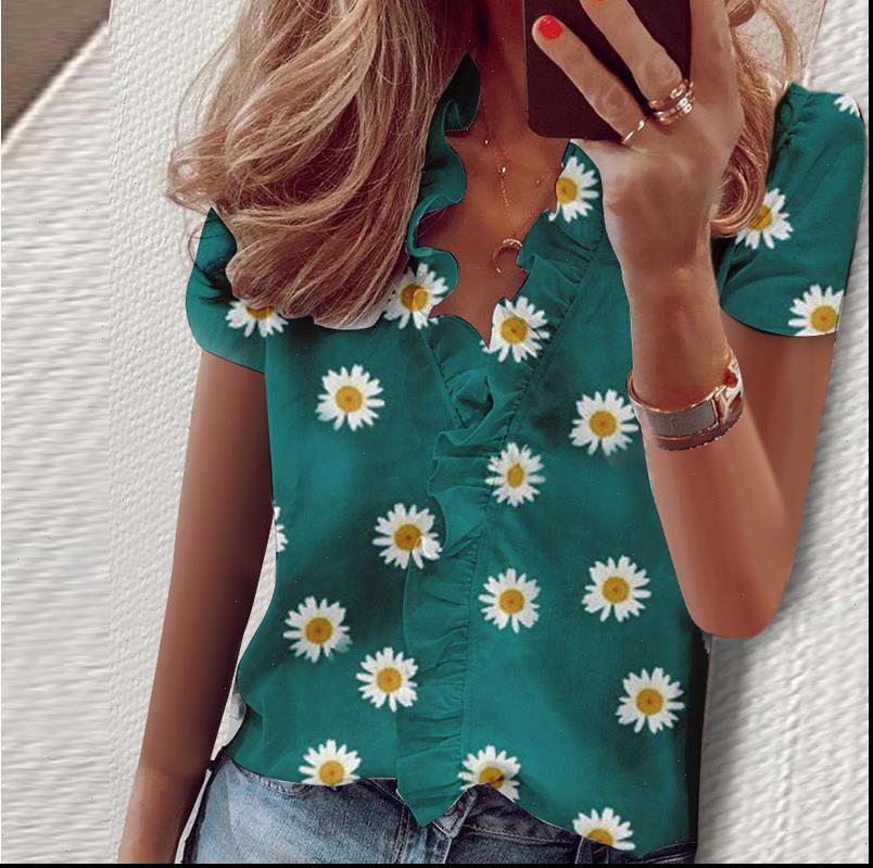 Bluz Gömlek Kadın Gömlek Kısa Kollu Zarif Moda Fırfır V Boyun Bayan Tunik Tops
