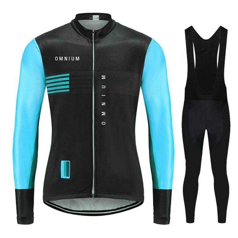 Гоночные наборы Осень Осень 2021 Омниум Команда ROPA Велоспорт Одежда Люнс Длинный Рукав Джерси Костюм Открытый Велосипед МТБ Одежда Bib 20D Гельские штаны