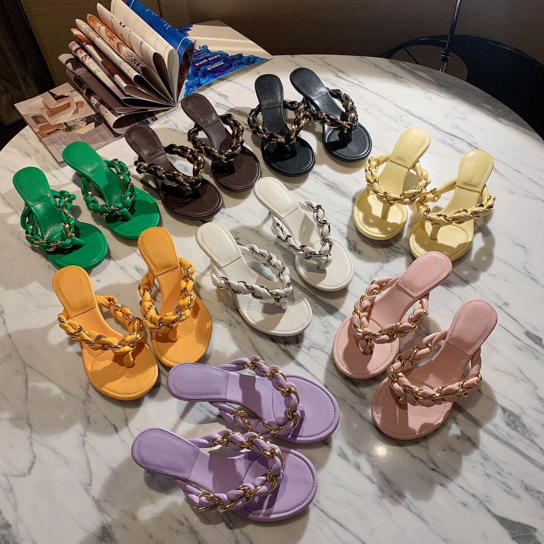 Sandali da donna in stile classico in pelle Sandali Donne Fashion Beach Designer Sandalo Slidel Slides Flip Flop Pantofole Donnersalers Designer Silde con Box Dimensione 35-41